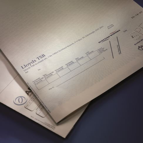 printed cheque